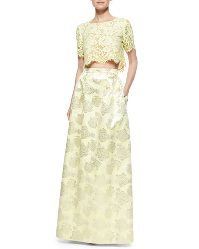 Short-Sleeve Lace Crop Top & Floral Jacquard Ball Skirt