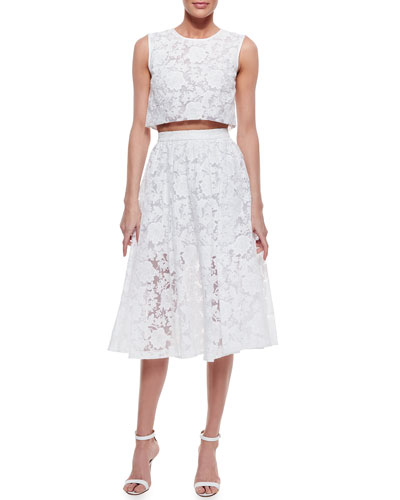 Sleeveless Lace Crop Top & Midi Lace Skirt