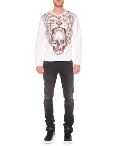 Lion/Skull-Printed Crewneck Sweatshirt & Faded-Wash Stretch Denim Jeans