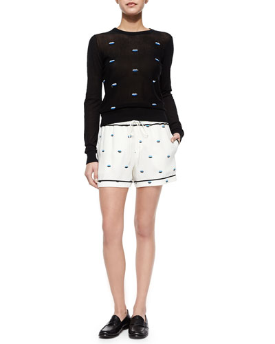 Tali Embroidered-Lips Knit Sweater & Marx Lips-Print Drawstring Shorts