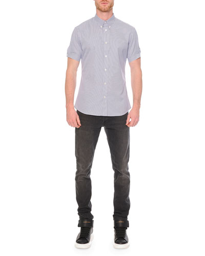 Check-Print Button-Down Shirt & Faded-Wash Stretch Denim Jeans