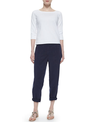 3/4-Sleeve Cotton Tee & Twill Button-Cuff Ankle Pants