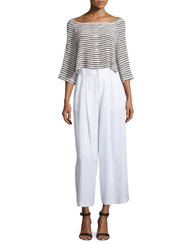 Bonjour Striped Button-Down Crop Top & Promenade Wide-Leg Pants