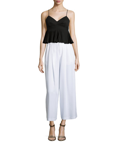 Pleated Peplum Tank Top & Promenade Wide-Leg Pants