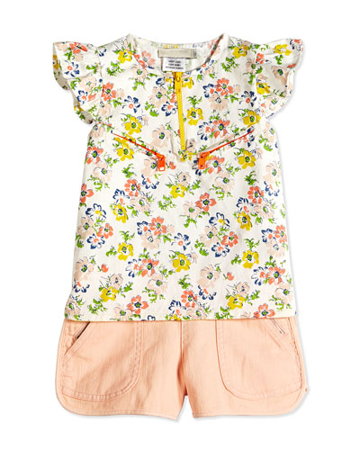 Floral-Print Jacquard Blouse & Asymmetric Button-Zip Denim Shorts