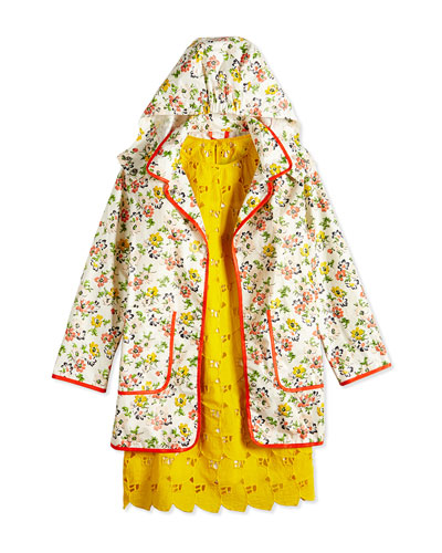 Embroidered Heart Eyelet Dress & Floral-Print Raincoat