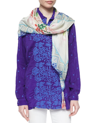 Ladera Embroidered Georgette Blouse & Anna Printed Silk Scarf, Women's