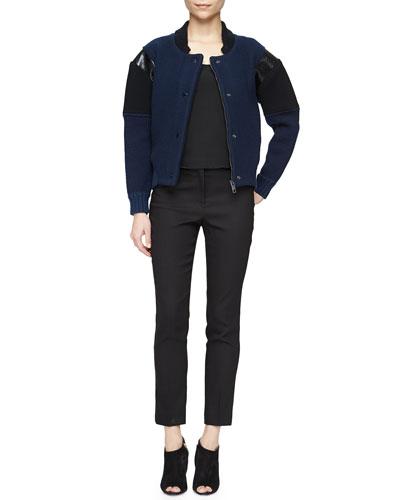 Multi-Gauge Leather-Inset Bomber Jacket & Pencil-Leg Satin-Trimmed Pants