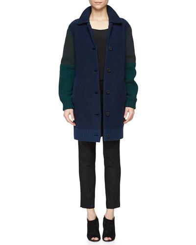 Multi-Gauge Bicolor Coat & Pencil-Leg Satin-Trimmed Pants