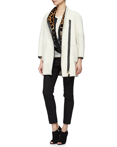 Mink-Lined Shearling Fur Coat, Brushstroke-Embroidered Slub-Knit Tee & Pencil-Leg Satin-Trimmed Pants