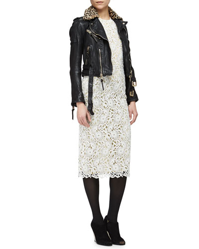Leopard-Print Fur Collar Leather Biker Jacket & Short-Sleeve Floral Lace Midi Dress