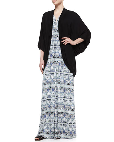 Siri Draped Batwing-Sleeve Cardigan & Stencil-Print Caftan Long Dress
