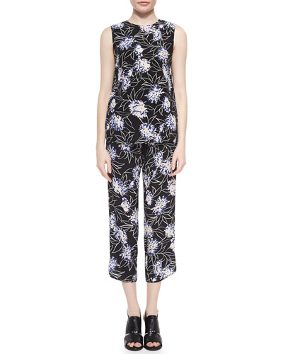 Floral-Print Loose Sleeveless Top & Cropped Silk Pants