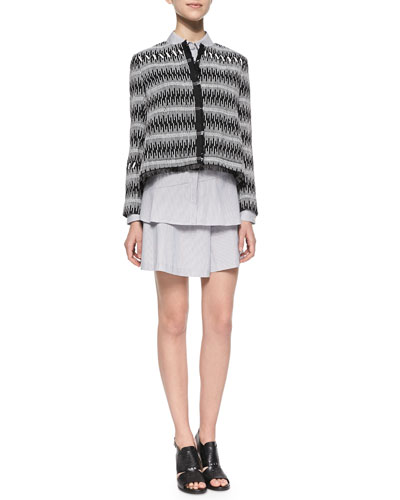 Patterned Boxy Tweed Jacket, Button-Back Striped Blouse & Striped Wide-Leg Drawstring Shorts