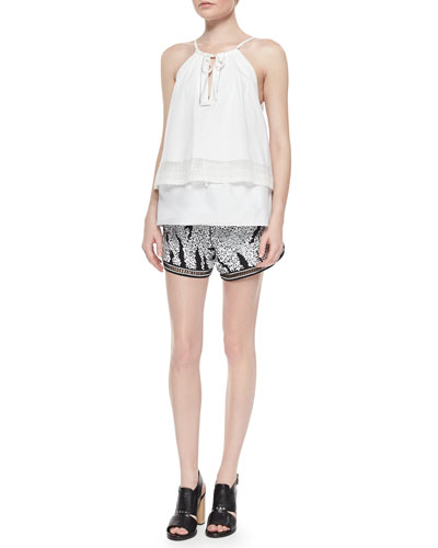 Layered Sleeveless Poplin Top & Sequined Relaxed Shorts