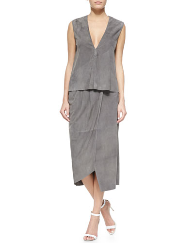 Sleeveless Feather Weight Suede Top & Suede Feather Weight Wrap Skirt