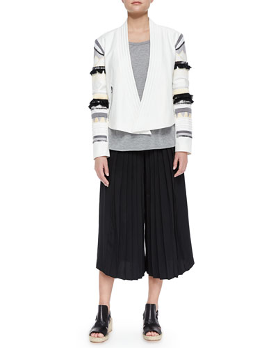 Fringe-Embroidered Cropped Open Jacket, Cap-Sleeve Slub Tee & Simone Silk Pleated Culottes