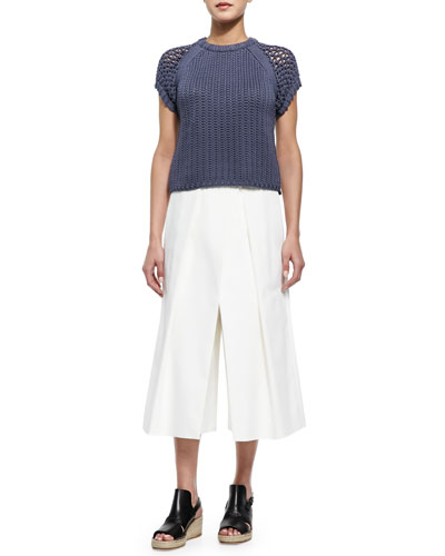 Tube Yarn Muscle Sweatshirt & Agathe Pleated Cropped Culotte Pants