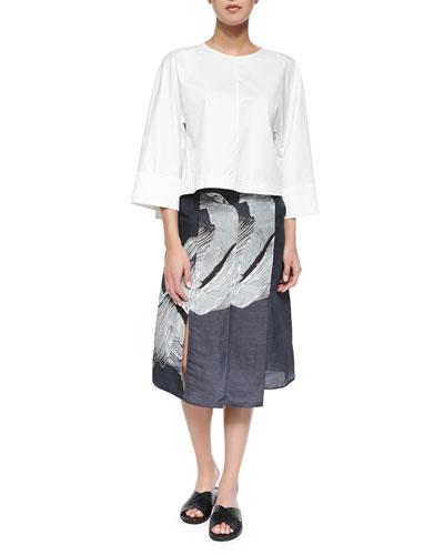 Satin Poplin Sculpted Tunic Top & Printed Linen/Silk A-Line Skirt