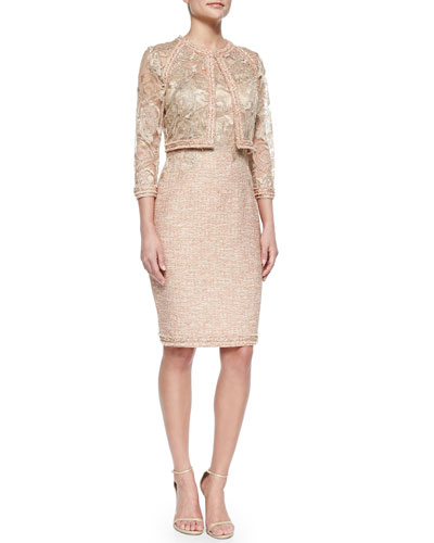 3/4-Sleeve Lace Jacket W/ Tweed Trim & Sheath Dress