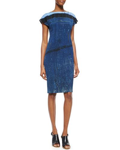 Secret Door-Print Boat-Neck Sheath Dress & Cashmere-Blend Secret Door-Print Scarf