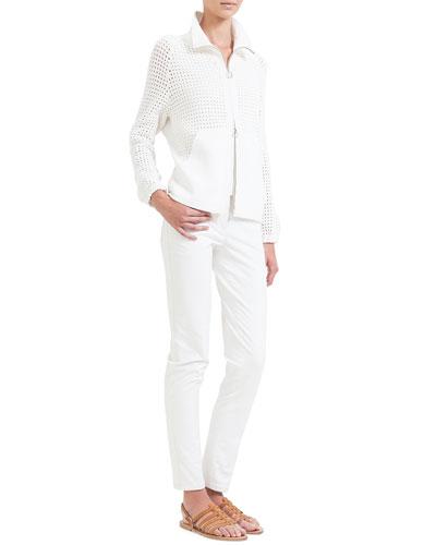Hand Crochet Zip-Front Cardigan, V-Neck Knit Tank Top & Magda Slim-Fit Silk-Blend Pants