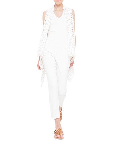 Open Hand Crochet Asymmetric Cape, V-Neck Knit Tank Top & Conny Double-Faced Slim Ankle Pants