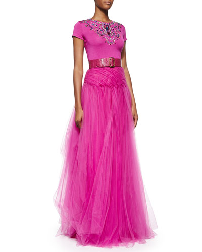 Jeweled Short-Sleeve Cashmere-Blend Top, Layered Tulle Long Skirt & Wide Alligator Double-Prong Belt