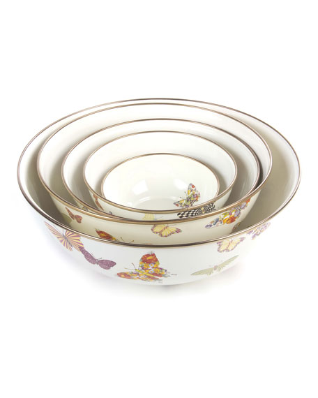 MacKenzie-Childs White Butterfly Garden Small Bowl