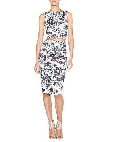 Sleeveless Bird-Print Crop Top & Bird-Print Pencil Skirt