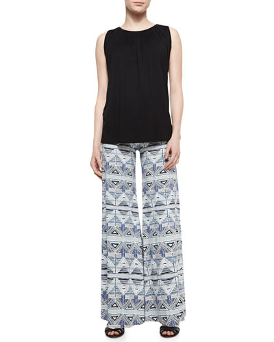 Lou Sleeveless Jersey Top & Stencil-Print Wide-Leg Trousers, Women