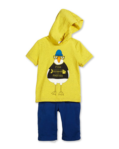 Duck-Graphic Hooded Jersey Tee & Contrast-Trim Poplin Shorts