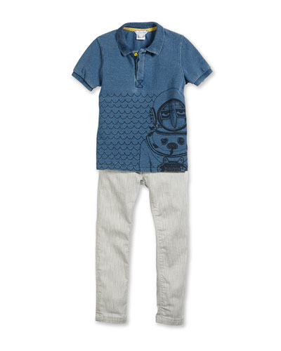 Scuba-Graphic Polo Shirt & Slim-Fit Stretch-Denim Pants