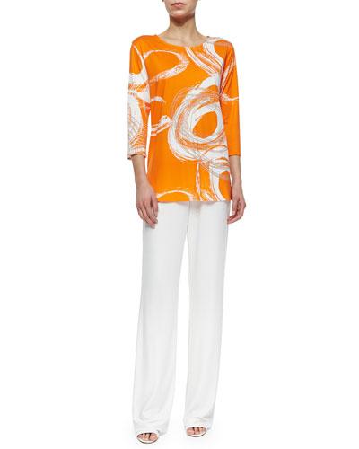 3/4-Sleeve Swirl-Print Knit Top & Stretch-Knit Pants, Petite