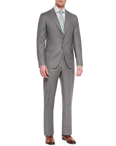 Isaia Super 140s Birdseye Suit, Double-Graph Check Dress
