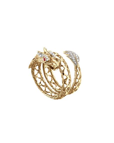 John Hardy Naga 18k Dragon Coil Ring, Size