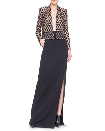 Lattice Lace-Over-Tulle Jacket, Scoop-Neck Georgette Tank Top & Double-Faced Side-Slit Long Skirt