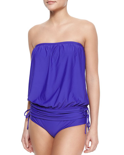 Finesse Solids Blouson Bandini Top & Swim Bottom