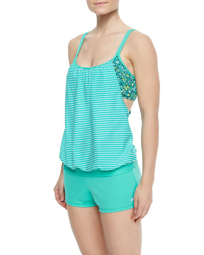 Between Lines Striped/Floral-Print Top & Short Swim Shorts
