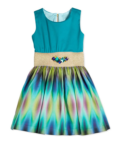 Sleeveless Tie Dyed Party Dress, Aqua