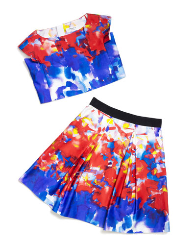 Watercolor-Print Crop Top & Sateen Skirt
