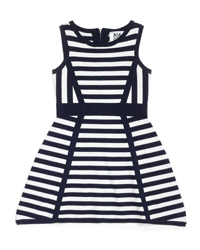 Directional Stripe Sleeveless Knit Dress, Black/White