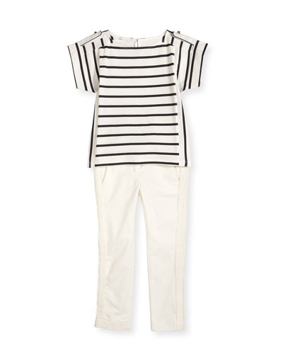 Striped Short-Sleeve Tee & Pleated Gabardine Pants