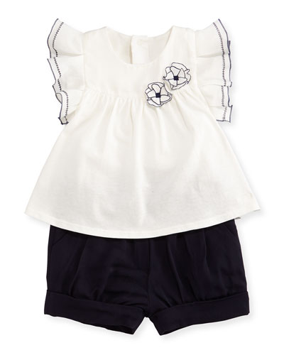 Sleeveless Jersey Blouse & Pleated Twill Shorts