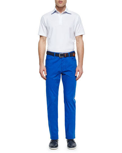Short-Sleeve Knit Polo Shirt & Five-Pocket Stretch-Cotton Pants
