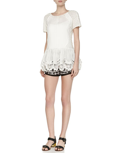 Netted/Eyelet/Poplin Combo Top & Tribal-Pattern Relaxed Shorts
