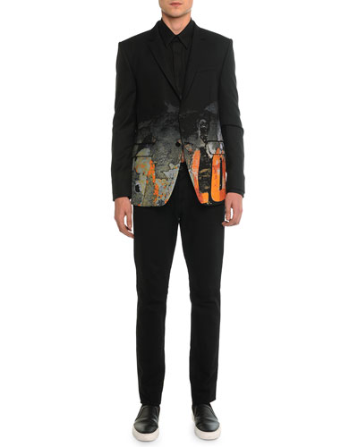 Digital Print Love Blazer, Digital-Print Love Long-Sleeve Shirt & Slim Denim Pants with Leather Back-Pocket