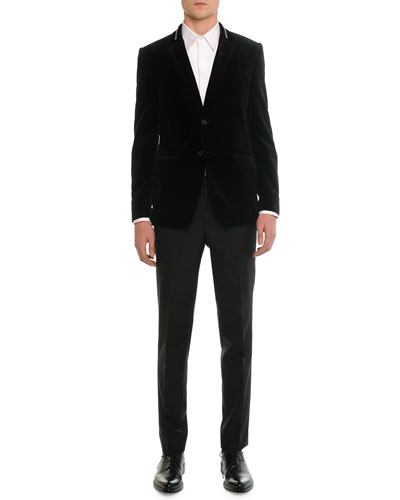 Velvet Evening Jacket, Tuxedo Poplin Shirt & Madonna Flat-Front Trousers