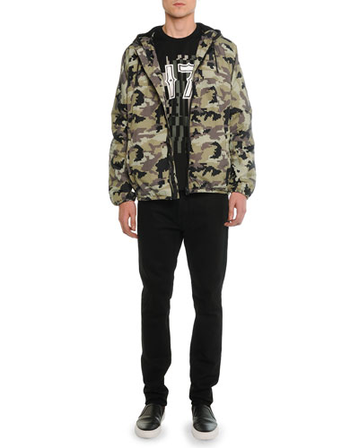 Nylon Camo-Print Hooded Jacket, Short-Sleeve Tee with 17 Camo-Print Graphic & Slim Denim Pants with Leather Back-Pocket