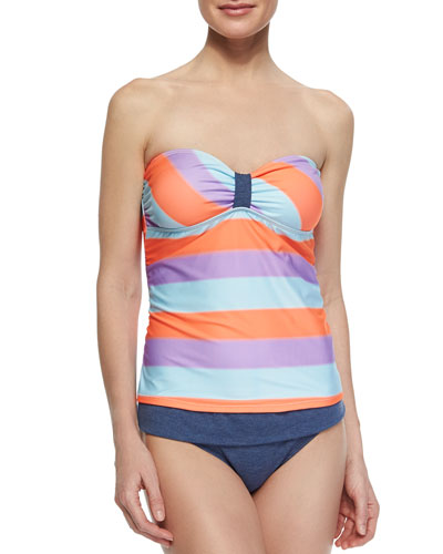 Venice Striped Bandini Top & Fold-Over Swim Bottom